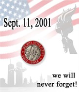 We Will Never Forget Lapel Pin, Red