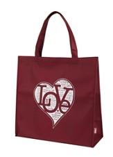 Written Reflections, Love Tote Bag, Red