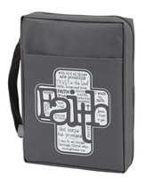 Faith Bible Cover, Gray, Large