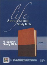 KJV Life Application Study Bible, TuTone Leatherlike Brown/Tan Indexed - Imperfectly Imprinted Bibles