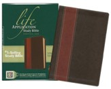 NLT Life Application Study Bible, Personal Size Leatherlike brown & tan