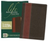 NLT Life Application Study Bible, Personal Size Leatherlike brown & tan indexed