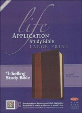 NKJV Life Application Study Bible. Large Print, Brown and Tan Imitation Leather, Indexed - Imperfectly Imprinted Bibles