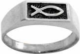 Ichthus Stainless Steel Ring, Size 7
