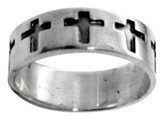 Enameled Cross Stainless Steel Ring, Size 9