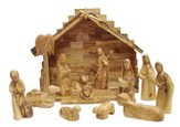 Modern Olivewood Nativity Set, 12 pieces