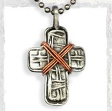 Cross and Copper Wire Pendant, on Beaded Chain