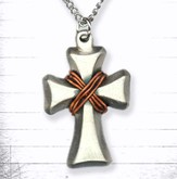 Open Cross and Copper Wire Pendant