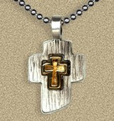 Two Tone Cross Pendant on Beaded Chain