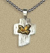 Two Tone Cross with Dove Pendant on Beaded Chain