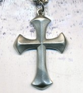 Beveled Cross Pendant, on Beaded Chain, Large