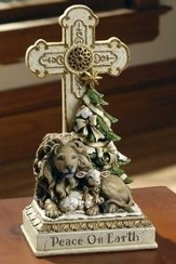 Lion and Lamb, Peace on Earth Standing Cross