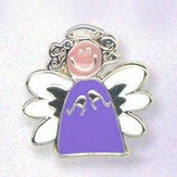 Whimsical Angel Lapel Pin, Purple