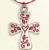 Floral Cross Necklace, on Red Cord