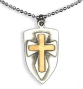 Two Tone Shield with Cross Pendant, on Beaded Chain