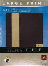 NLT Premium Slimline Reference Bible, Large Print, TuTone Wine/Gold Leatherlike Indexed