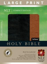 NLT Large Print Compact Edition, Black/Tan Leatherlike