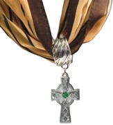 Antique Silver Scarf Slide, with Celtic Cross