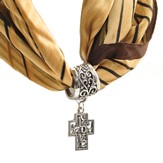 Antique Silver Scarf Slide, with Filigree Love Cross