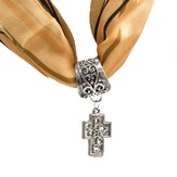 Antique Silver Scarf Slide, with Filigree Peace Cross