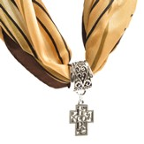 Antique Silver Scarf Slide, with Filigree Hope Cross