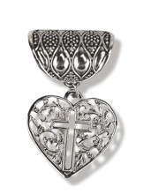 Antique Silver Scarf Slide, with Heart and Open Cross