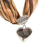 Antique Silver Scarf Slide, with Heart