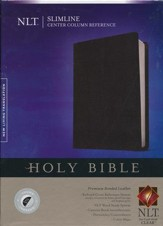 NLT Slimline Center Column Reference Bible, Black Indexed Bonded Leather