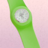 Slap Watch with Cross, Lime Green