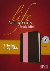 NIV Life Application Study Bible TuTone Imitation Leather, dark brown/pink Indexed - Imperfectly Imprinted Bibles