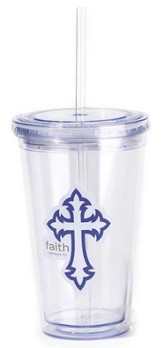 Faith Cross Reusable Cup with Straw