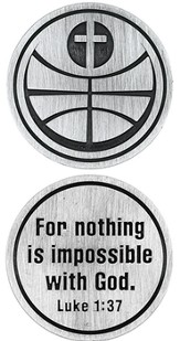 For Nothing is Impossible Basketball and Cross Pocket Stone