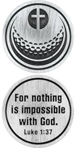For Nothing is Impossible Golf Ball and Cross Pocket Stone