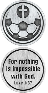 For Nothing is Impossible Soccer Ball and Cross Pocket Stone
