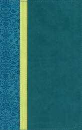 NLT Personal Size Bible, Large Print, soft imitation leather, teal/avocado/jade