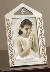 First Communion Photo Frame with Cross, Silver