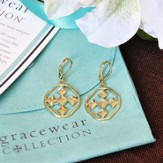 Shield of Faith Dangle Earrings, Gold Plated, Small