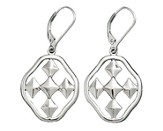 Shield of Faith Dangle Earrings, Silver Plated, Small