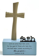 Faith Sculpture, God's Work, Large Faith Cross Sculpture, Large: God works...