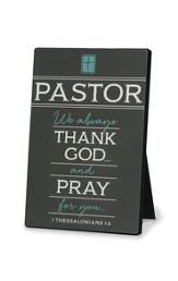 Thank You Pastor Plaque, Gray, 1 Thessalonians 1:2