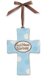 God Bless This Baby Wall Cross, Blue