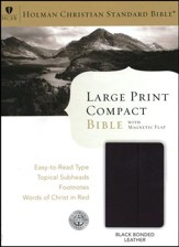HCSB Large Print Compact Bible, Black Bonded Leather With Magnetic Flap Closure