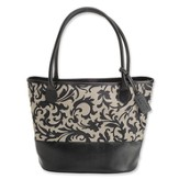 Bucket Tote with Love Zipper Pull, Black and Gray