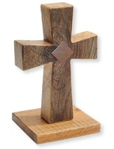 Standing Cross, Solid Wood, Handcrafted 11.5