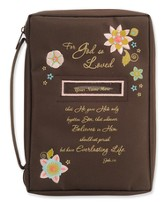 For God So Loved Bible Cover, Brown, Personalize, Extra Large