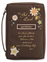 Fro God So Loved Bible Cover, Brown, Personalize, Large