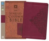 NIV Single-Column Bible, Italian Duo-Tone Tone, Cranberry