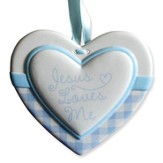 Jesus Loves Me Heart Wall Plaque, Blue