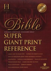 HCSB Super Giant Print Reference Bible Burgundy Genuine Leather, Thumb-Indexed