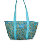 Grace Quilted Tote, Blue Tones